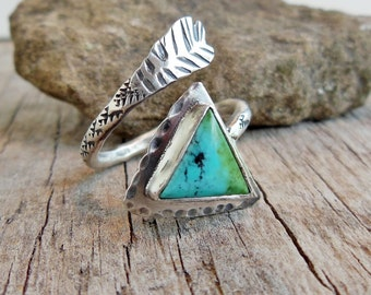 Sterling Silver Arrow Ring, Real Turquoise Jewelry, Adjustable Ring, Rustic Arrow Ring, Western Jewelry for women
