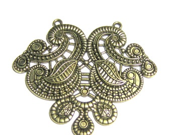 3 Bronze chandelier jewelry finding gypsy jewelry boho chic jewelry pendants 55mm x 48mm B2916