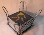 Coasters, Dark Teal, Stained Glass & Wildflowers, Hand Made, Basket, OOAK