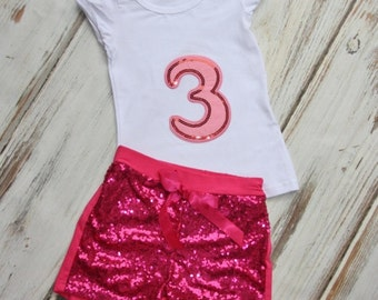 3rd Birthday Outfit- Baby Girls Birthday Clothes- Cake Smashing Outfit- ONE in Pink shirt and Sequin Shorts- Glitter Birthday Shirt