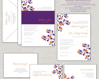 Fall in Love Wedding Invitation Set in Purple and Orange Flowers Belly Band Linen Autumn