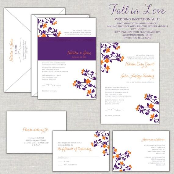 Wedding Invitation Fall Wedding Invitation Suite Purple and – Purple Fall Wedding Invitations