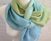 Light Blue to Green Tencel Stripes Twill Handwoven Scarf