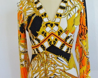 60s stunning DON MANUEL maxi evening gown size small