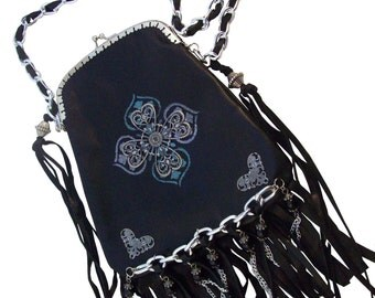 Black Leather New Embellished Purse