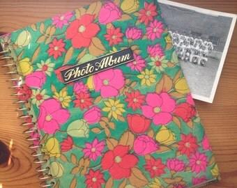 vintage photo album flower power mod pink blue floral spiral-bound