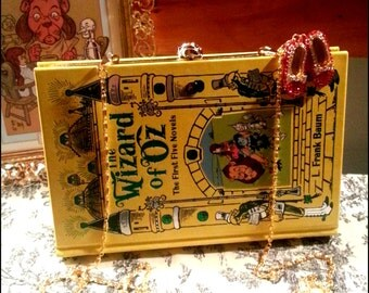 Book Clutch The Wizard of Oz by L. Frank Baum Yellow Brick Illustrated Cover Fantasy Book Purse Made to Order