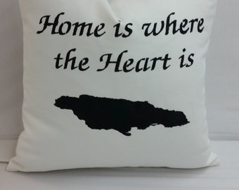 Home is where the heart is, Jamaica, throw pillow 14 x 14 inches