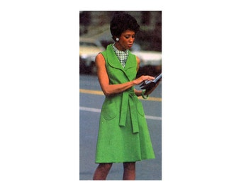 1970s Wrap Dress Pattern Princess Seam Sleeveless Short Sleeve Round Collar Front Wrap Dress Simplicity 6844 Bust 31 Vintage Sewing Pattern