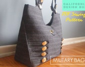 Military Handbag Sewing Pattern - modern bag for weekend bag, laptop bag. Downloadable sewing pattern PDF