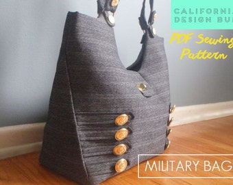 Military Handbag Sewing Pattern - modern tote bag for weekend bag, laptop bag. Downloadable sewing pattern PDF