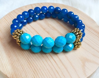 Blue Sapphire and Turquoise Bracelet