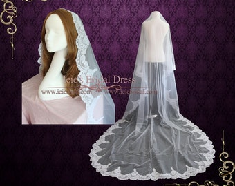 Cathedral Mantilla Drop Veil | Lace Wedding Veil | Lace Bridal Veil | Ivory Wedding Veil | Bridal Veil | Cathedral Veil | VG1002