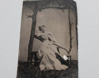 Full Body Tintype Portrait of a Smiling Woman and her Parasol