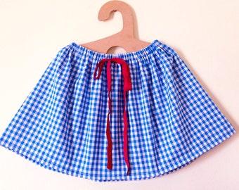 Girls Skirt,  blue gingham