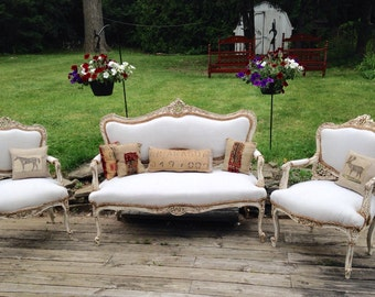 French Rustic Linen Settee Set