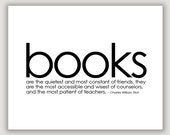 Book Quote print, bibliophile gift, quote about books, library art, minimalist art, black and white, typography art, book decor, wall art