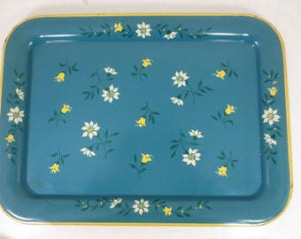 Vintage Turquoise Metal Tray With Tulips and Flowers - 2 Available