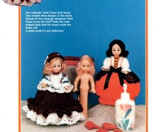 September and October Toilet Tissue Cover Crochet Girl Doll Dress Fall Colors Pumpkin Orange Full Skirt Bonnet Craft Pattern Leaflet Td-874