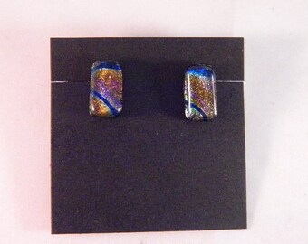 Dichroic Rainbow Colors, Fused Glass Post Earrings