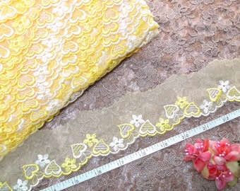 Lace trim, Embroidered lace, Sweet heart lace, Girls' lace, Doll lace, Lingerie lace, 7.5 yards OR020
