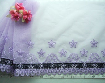 Violet lace trim, Embroidered lace trim, Embellishing lace, Tulle lace, Wedding lace, VT015 4 3/4 yards