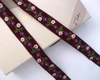 Embroidered trim, Handmade trim, Floral trim, Velvet trim, Deep violet trim, Retro style Vintage style trim, 6 yards NT289