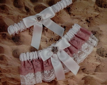 Mauve Pink Double Ruffle Lace White Satin Rhinestone Wedding Bridal Garter Set