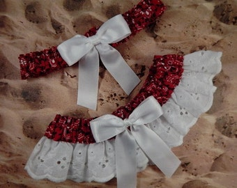 Red Bandana Paisley Ribbon White Eyelet Lace Wedding Garter Toss Set