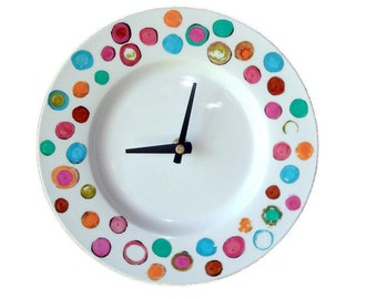 Distressed Dots Plate Wall Clock / Hand Painted Porcelain Plate Clock / Unique Wall Clock / Funky Home Decor 1691