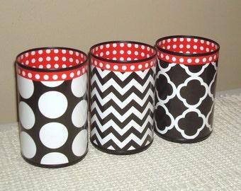 Black White Red Desk Accessories, Pencil Holder Desk Accessory, Polka Dots Chevron Pencil Cup, Desk Set, Makeup Brush Holder - 817