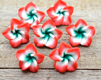 Flower Beads, 15 Pcs, 20mm,  Polymer Clay Flower, Red Flower, Polymer Clay -B16