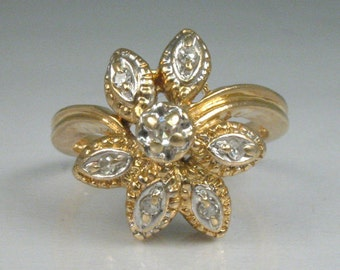 Sweet Vintage Diamond Ring With Floral Styling - Petite Size 3.75