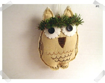 Wise Old Muslin Owl Ornament/Muslin Fabric/ Handmade/#5*