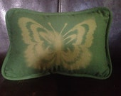 Cute Little Green Discharge Dyed Butterfly Pillow 1