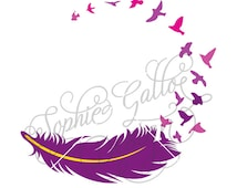 Feather Birds Tattoo SVG DXF & PNG digital download files Silhouette Cricut vector clip art graphics Vinyl Cutting Machines, Screen Printing