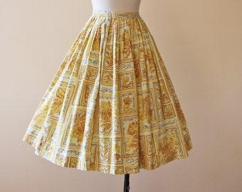 50s Skirt - Vintage 1950s Skirt - Novelty Print French Words Butterflies Mustard Cotton Full Skirt XS - Papillon