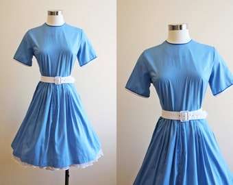 50s Dress - Vintage 1950s Dress - Nautical Blue Soft Cotton Full Skirt Dress M - Memo to Myself