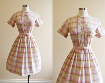50s Dress - Vintage 1950s Dress - Pink Cocoa Pintucked Plaid Cotton Full Skirt Shirt Dress S - Corn Maze