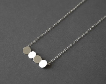 Geometric Chain Necklace, Pendant Chain Necklace, Geometric Charm Necklace, Sterling Silver Pendant Necklace, Minimalist Necklace