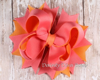 Coral and Orange, Boutique Hair Bow, Pink Coral Sherbet Duo Collection, Girls Hair Bow, Toddler Hair Bow, Coral Bow, Orange Bow
