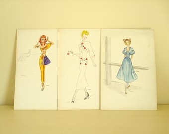 Vintage 1940s fashion illustrations, set of 3, original couture watercolors, post-war fashion drawings, hand drawn designs, Wisconsin artist