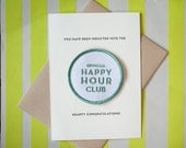 Happy Hour Club - letterpress card & embroidered patch