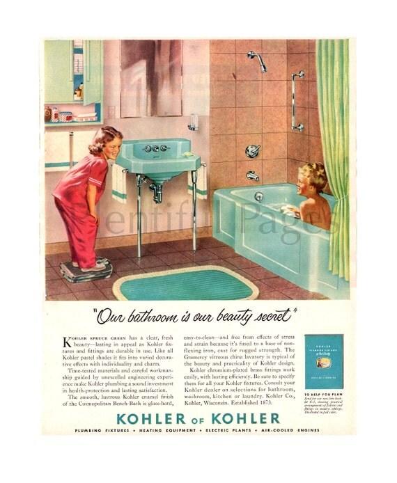 1950 kohler bathroom vintage ad 1950 39 s bathroom retro for Bathroom accessories ads