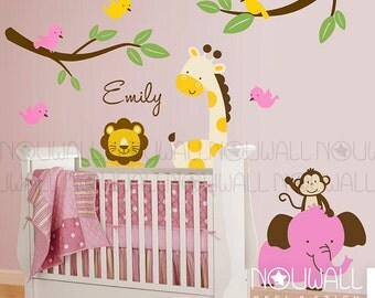 Kids nursery Wall Decal , Safari Friends Animal Paradise , tree, monkey , giraffe, elephant, lion Wall decals wall sticker