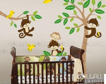 Curly Tails Tree Monkey Nursery Decals Baby ,Nursery Wall Decal Wall Sticker