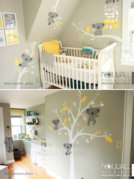 Baby wall decal animal koala bear tree wall sticker for Pochoir chambre bebe