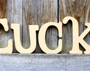 LUCKY Unfinished Wood Letters