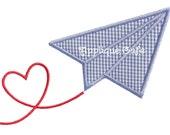 727 Valentine Paper Airplane Machine Embroidery Applique Design