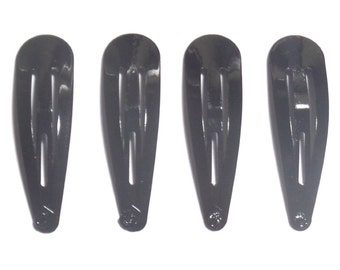 24 Pcs - 40 mm Girl Hair Snap Clips findings Black Color
